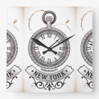 New York Pocket Watch Square Wall Clock