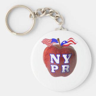 New York Puerto Rico symbols merged Basic Round Button Keychain