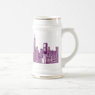 New York purple 18 Oz Beer Stein