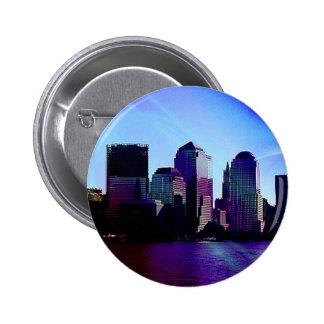New York, purple effect Pinback Buttons