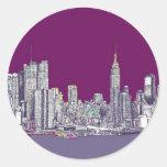 New York purple lilac Classic Round Sticker