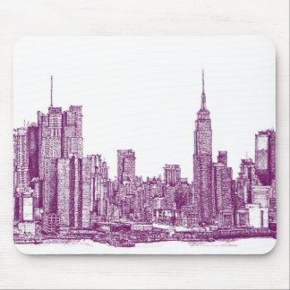 New York purple Mouse Pads
