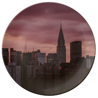 New York purple skyline Plate