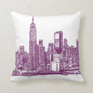 New York purple Throw Pillow