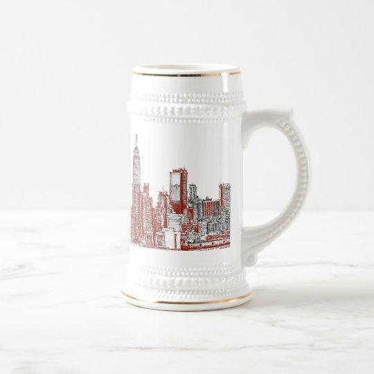 New York red black Beer Stein