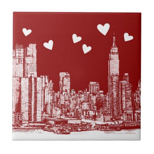 New York red hearts Ceramic Tiles