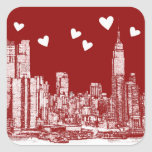 New York red hearts Sticker
