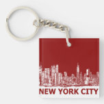 New York red maroon Double-Sided Square Acrylic Keychain
