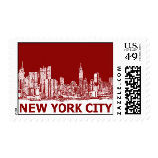 New York red maroon Postage