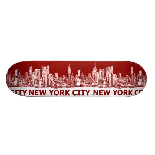 New York red maroon Skate Board Deck