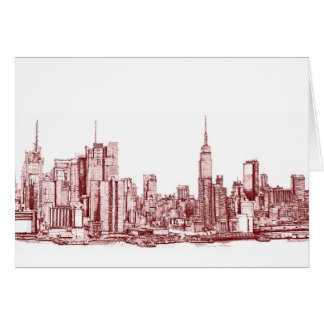 New York red skyline Stationery Note Card