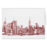 New York red skyline Stationery Note Card