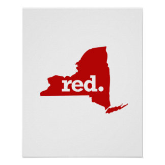 NEW YORK RED STATE POSTER
