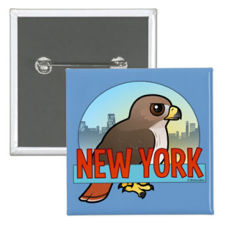 New York Red-tailed Hawk 2 Inch Square Button