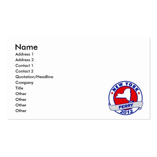 New York Rick Perry Business Card Templates