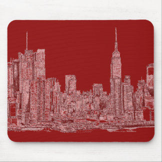 New York roofscape red Mousepads