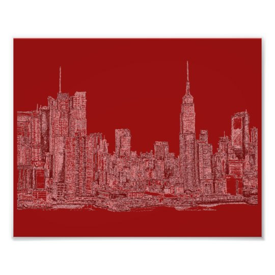 New York roofscape red Photo Print