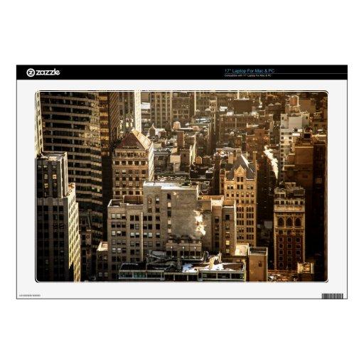 New York Rooftops - Skyscrapers in Sunlight Laptop Decal