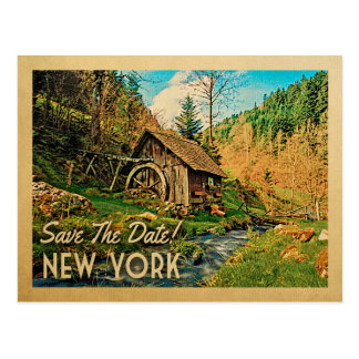 New York Save The Date Rustic Cabin Mill Woods Postcard