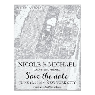 New York Save the Date - VIntage Map Card