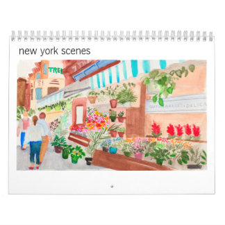 New York Scenes Watercolor Calendar