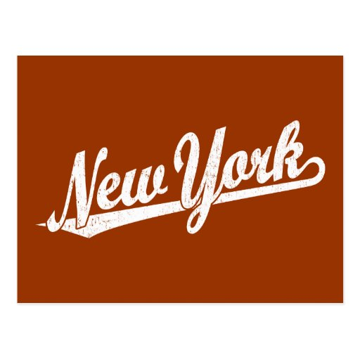 New York script logo in white distressed Postcard
