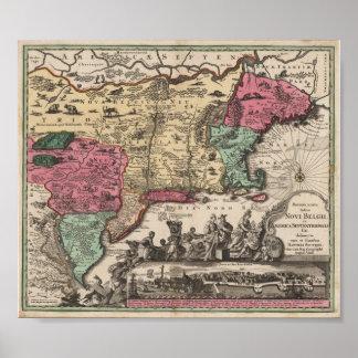New York Seutter, Matthaeus 1730 Reproduction Poster