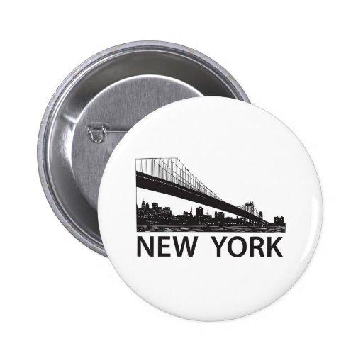 New York Skyline 2 Inch Round Button