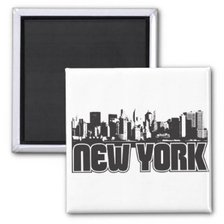 New York Skyline 2 Inch Square Magnet