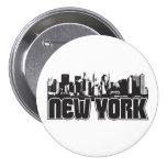 New York Skyline 3 Inch Round Button