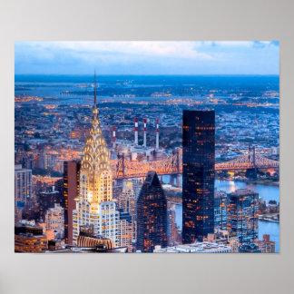 New York Skyline At Night 14x11 Archival Poster