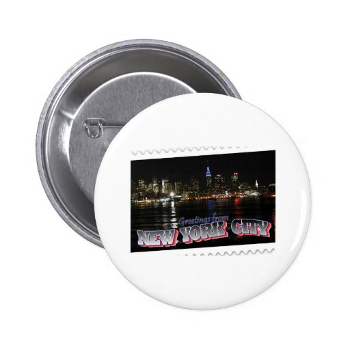 New York Skyline at Night Empire State Buttons