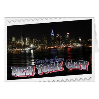New York Skyline at Night Empire State Cards