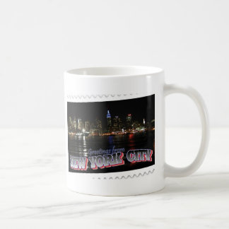 New York Skyline at Night Empire State Coffee Mugs