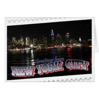 New York Skyline at Night Empire State Greeting Card