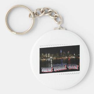 New York Skyline at Night Empire State Keychain