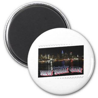 New York Skyline at Night Empire State 2 Inch Round Magnet