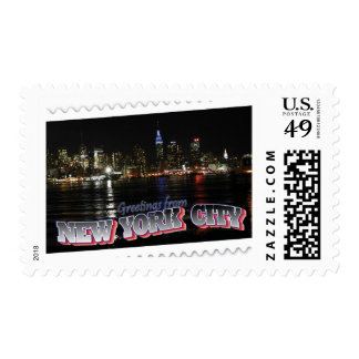 New York Skyline at Night Empire State Postage Stamp