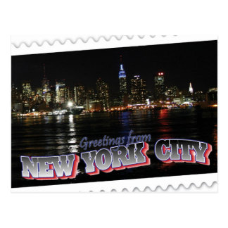 New York Skyline at Night Empire State Postcard