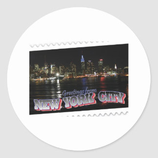 New York Skyline at Night Empire State Classic Round Sticker