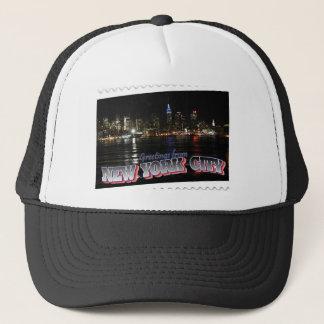New York Skyline at Night Empire State Trucker Hat