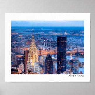 New York Skyline At Night - Small Poster
