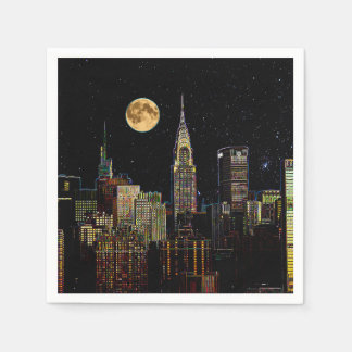 New York Skyline At Night With Full Moon Paper Napkin