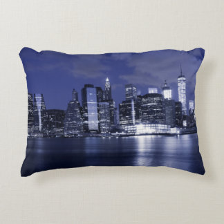 New York Skyline Bathed in Blue Accent Pillow