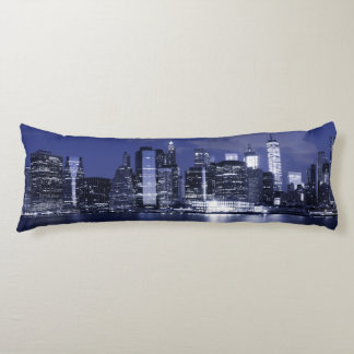 New York Skyline Bathed in Blue Body Pillow