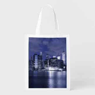 New York Skyline Bathed in Blue Grocery Bag