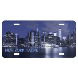 New York Skyline Bathed in Blue License Plate