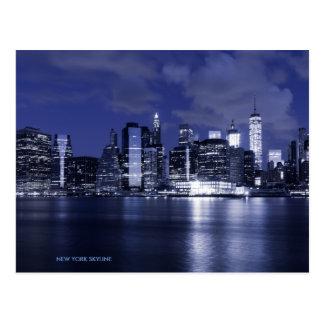 New York Skyline Bathed in Blue Postcard