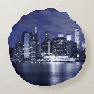 New York Skyline Bathed in Blue Round Pillow