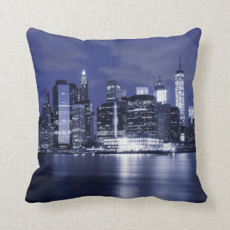 New York Skyline Bathed in Blue Throw Pillow